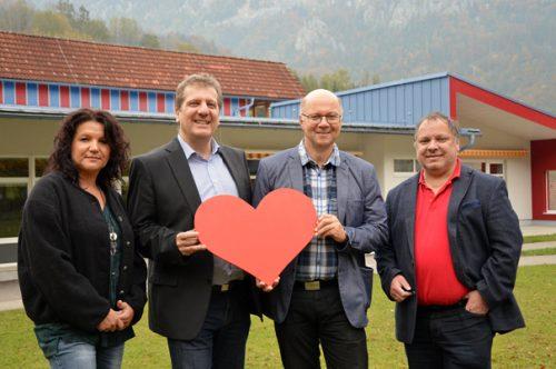V.l.n.r.: Gemeindevorstand Andrea Stadler, SP-Klubvorsitzender Christian Makor, Bürgermeister Rudi Mayr und Gemeinderat Christian Kerbl setzen sich für familienfreundliche Angebote ein